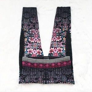 NWOT Nanette Lepore Black and Pink Floral Leggings